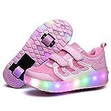YCOMI Girl's Boy's LED Light Up Single Wheel Skate Shoes Fashion Roller Skate (30 M EU/12.5 M US Little Kid, Pink (Double Wheel))
