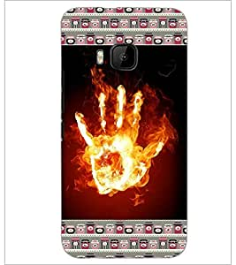 PrintDhaba flamming Hand D-6030 Back Case Cover for HTC ONE M9 (Multi-Coloured)