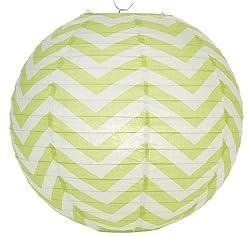 PrettyurParty Green Chevron Round Paper Lamps