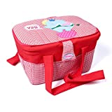 Nursery Organizer Storage Container Large Travel Basket Bin Elephant Print Checks (Red)