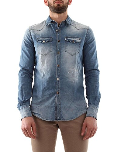 AGLINI WESTERN ARKANSAS ID.67882 DENIM CAMICIA Uomo DENIM 43