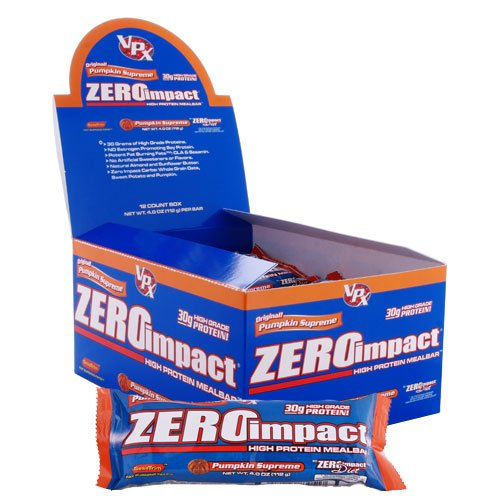 VPX Zero Impact Protein Meal Replacement Bar, Pumpkin, 4.0-Ounce Bars (Pack of 12)