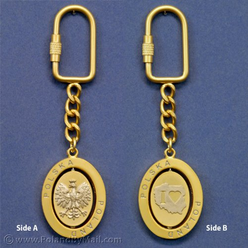 Spinner Keychain - Eagle & I Love PL, Gold Color