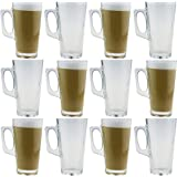 Rink Drink Tall Latte Coffee Glasses - 380ml (13.4oz) - Gift Box of 12