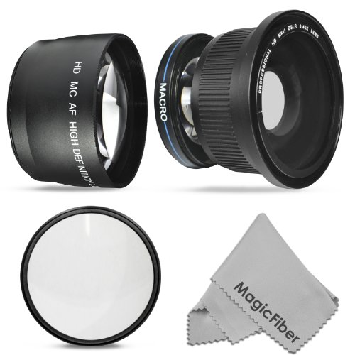 58Mm 0.40X Super Wide Fisheye W/ Macro Portion And 2.2X Telephoto High Definition Lenses + Ultraviolet Uv Protection Filter For Canon Rebel (T5I T4I T3I T3 T2I T2 T1I Xti Xt Xsi Xs Sl1), Canon Eos (1100D 700D 650D 600D 550D 500D 450D 400D 350D 300D 100D)