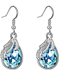 Charm Moon Swarovski Elements Water-drop Shaped Drop Earrings For Women - Various Colours