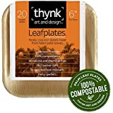 Leafplates - Palm Leaf Plates - 6 Inch Square - All Natural 100% Compostable - Perfect Disposable Party Plates - 20 Count