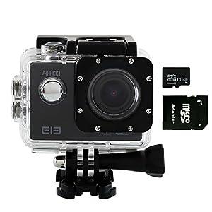 PHONECT ELE Explorer 16GB Micro SD 1050mAh WIFI Aliwinner V3 2.0 Pouces TFT LCD 4K 16MP Action Etanche Sport Caméra avec 170 ° Grand Angle-Noir