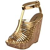 Report Signature Women's Lorraine Strappy Wedge Sandal,Gold,8 M US