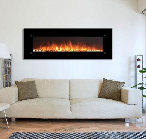 """The Onyxxl 72"""" Electric Wall Mounted Fireplace - Black By Touchstone"""