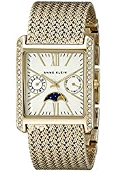 Anne Klein Women's AK/2002SVGB Swarovski Crystal Accented Rectangular Gold-Tone Bracelet Watch