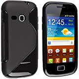 EverydaySource Black S Shape TPU Rubber Skin Case Compatible With Samsung©Galaxy Mini 2 S6500,