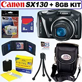 Canon Powershot SX130 IS 12.1MP Digital Camera + 8GB Accessory Kit