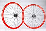 Wheel Master Weinmann DP18 Wheel Set - 700c, 32H, Fixie, Red/Black/Black