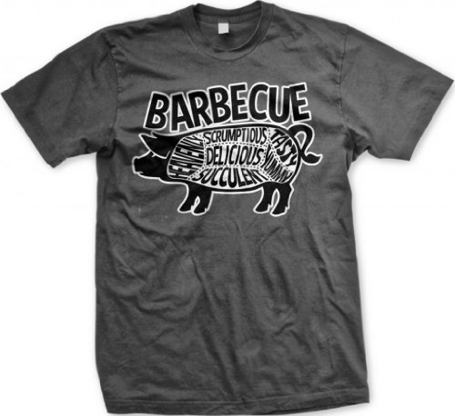 Barbecue Pig Parts Men'S T-Shirt, Tasty, Yummy, Delicious, Heavenly, Succulent, Scrumptious, Parts Of Pig BBQ Design Men'S Tee (Charcoal, Large)