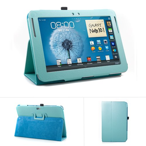 GMYLE(R) Robin Egg Blue Turquoise PU Leather Slim Folio Perfect fit Stand Case Holder for Samsung Galaxy Note 10.1 Inch N8000 N8010 Tablet