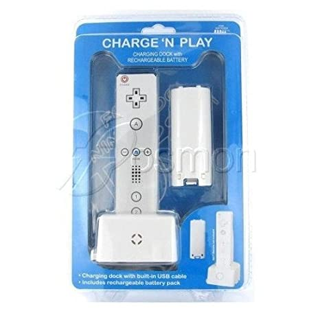 Fosmon® Premium Quality Nintendo Wii Remote Rechargeable Battery and Docking Station and Charger Cradle