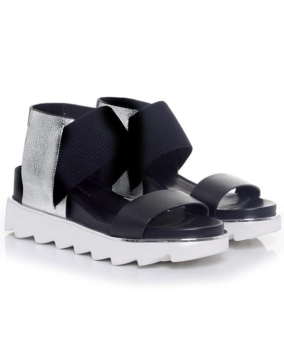 UNITED NUDE Metallic Rico Strap Sandals Silver