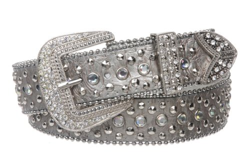 "Snap On Western Cowgirl Alligator Rhinestone Studded Leather Belt Size: S/M - 34"" Color: Silver"