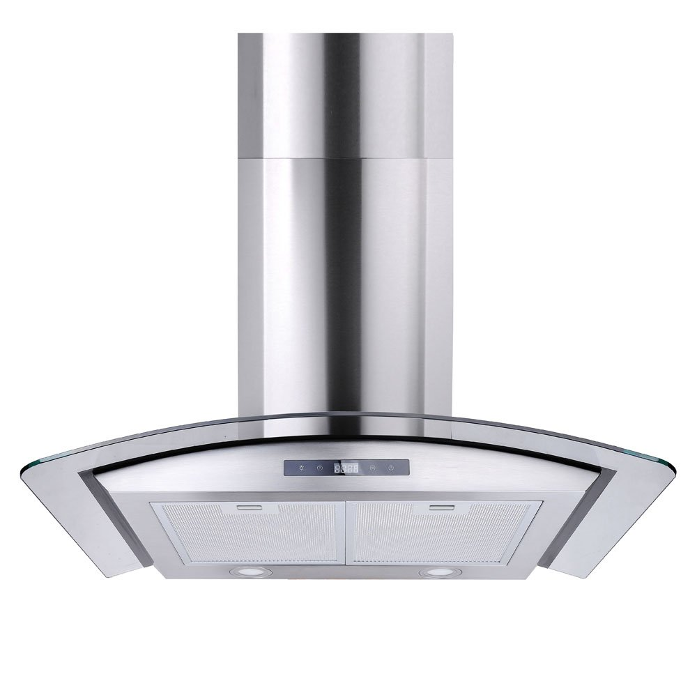 "Yescom 30"" Kitchen Wall-Mount Stainless Steel Glass Range Hood 760 CFM 3 Speed Touch Control Vent"