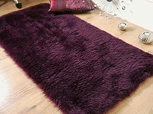 Plum aubergine purple faux fur sheepskin oblong rug 70 x 140 cm