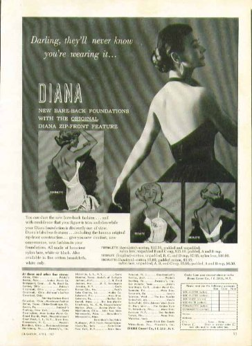 Darling, They'Ll Never Know You'Re Wearing It Diana Bare-Back Bra Ad 1957