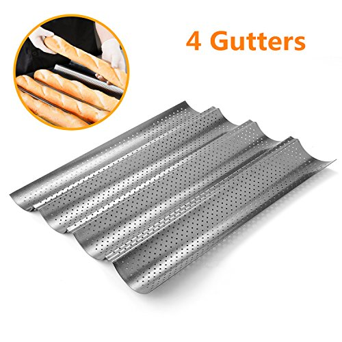 Perforated Baguette Pan, Homono Non-Stick Perforated French Bread Pan Wave Loaf Bake Mold, 15 by 13 by 1 inch 4 gutters (Color: grey metallic) (Perforated Baguette Pan compare prices)