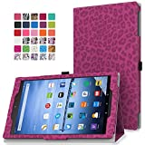 MoKo Case for Fire HD 10 - Slim Folding Cover with Auto Wake / Sleep for Amazon Kindle Fire HD 10.1 Inch Display Tablet (2015 Release Only), Leopard RED