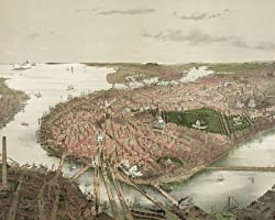 Boston - Aerial View from the North, ca. 1877 by John Bachmann - Panoramic Photographic Print from the Library of Congress Collection