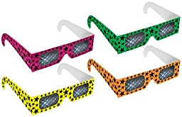 Rainbow Symphony Diffraction Fireworks Glasses - Neon Stars, Package of 100