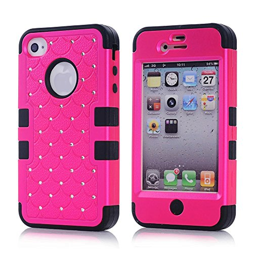 iPhone 4S Case, KAMII 3 Layers Verge Hybrid Soft Silicone Hard Plastic Triple Quakeproof Drop Resistance Protective Case Cover for Apple iPhone 4/4S (Rose Black) (Iphone 4s Back Glass Marvel compare prices)