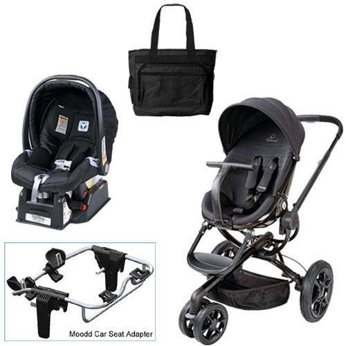 Quinny Black Devotion Moodd Travel System with Peg Perego Nero Black Car Seat Diaper Bag