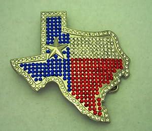 Texas Die Cut Map with Rhinestone Cowboy Belt Buckle.