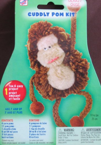 Cuddly Pom Kits - Small Monkey