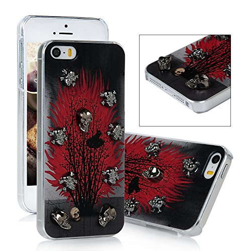 Iphone SE 5S 5 Case - Mavis's Diary 3D Handmade Special Fashion Painted Fire Flame Tree at Night Pattern with Terror Metal Skulls Design Hard Cover Clear Case for Iphone SE/ 5S/ 5