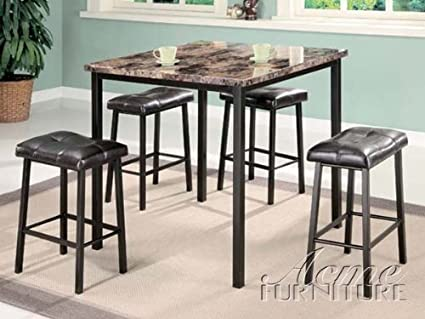ACME Crossville II 5-Piece Counter Height Dining Set, Brown Faux Marble
