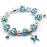 Pandora compatible Blue Butterfly Charm with Blue Murano Glass Beads Charm Bracelet