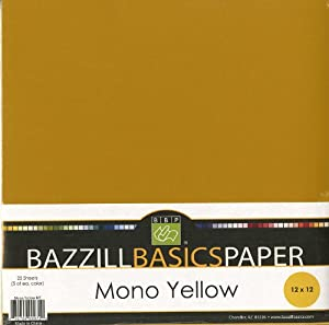 Bazzill Basics 12 by 12-Inch 25-Sheet Cardstock, Yellow Assortment