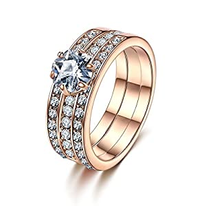 Forcolor Rose Gold Plated Three-Row SWAROVSKI ELEMENTS Crystal Round Cut Ring