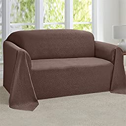 Brylanehome Rosanna Jacquard Loveseat Throw Slipcover (Cocoa,0)