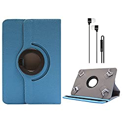 DMG Portable Foldable Stand Holder Cover Case for Samsung Galaxy Tab 3 T211 7in Tablet(Blue) (Blue) + Blue Stereo Earphone with Mic and Volume Control
