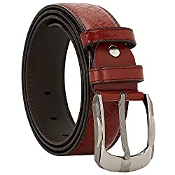 Comfort Zone India Maroon Textured Men's Belt