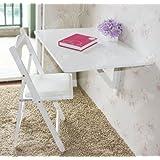 Küchentisch, Holztisch, Wandklapptisch, Esstisch, Schreibtisch, Tisch, 2x klappbar, 80x60cm FWT02-W (Weiß)