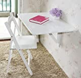 Kchentisch-Holztisch-Wandklapptisch-Esstisch-Schreibtisch-Tisch-2x-klappbar-80x60cm-FWT02-W-Wei