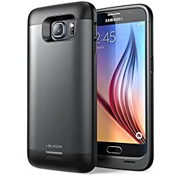 Galaxy S6 Battery Case, i-Blason External Protective Battery Case / Cover for Samsung Galaxy S6 2015 Release [Ultra Slim] Black/Gray (Fits All Versions of Galaxy S6) (Black/Gray)