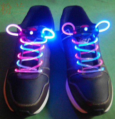 Bicolor Pink/White Led Light Up Flashing Shoelaces + Extra Batteries