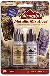 Ranger Adirondack Alcohol Ink Metallic Mixatives 1/2-Ounce 2/Pkg, Gold and Silver by Ranger Products