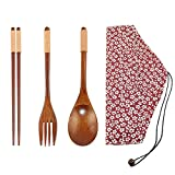 Startostar Portable Natural Wooden Tableware Set of 5-pieces with Travel Pouch for Dining or Camping (Fork, Spoon, and Chopsticks)