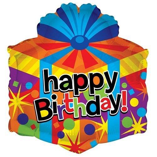 "Kaleidoscope Happy Birthday Gift Box Shape Foil Mylar Balloon , 18"", Pack of 5"