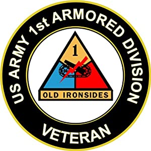 "Amazon.com: 3.8"" US Army 1st Armored Division Veteran Decal Sticker"